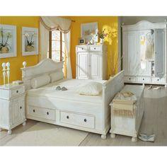Bett weiß 160x200 landhaus  Möbel in Kolonial-Farbe www.massiv-aus-holz.de #Kolonial ...