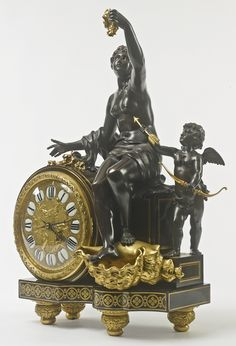 François Linke French, 1855 - 1946 A gilt bronze mounted ebony, brass and tortoiseshell inlaid boulle style marquetery horloge à poser Paris, early 20th century, index number 2132 the gilt and enamel dial with Roman numerals, the twin train movement and the pendulum numbered 5245, pencil inscription Hs. Bieder to the movement