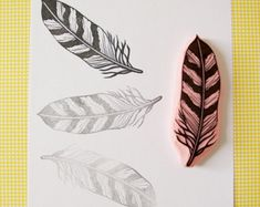 Stripped feather rubber stamp, hand carved stamp, owl feather, stamping, tribal decor