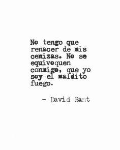 No tengo que renacer de mis cenizas. No se equivoquen conmigo, que yo soy el maldito fuego. #DavidSant . . . . . #accionpoetica…