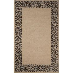 This delightful animal print rug features a subdued center surrounded by a wide leopard spotted border in black and brown. This leopard print rug is striking enough to hold its own, but subdued enough to blend with contemporary decor.