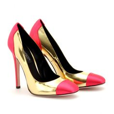 Giambattista Valli Silk Cap Toe Metallic Gold & Pink Leather Pumps Spring 2012 #Shoes #Heels