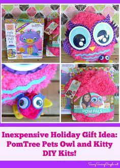 Inexpensive Holiday Gift Idea: PomTree Pets Mess & Glue Free Owl and Kitty DIY Kits!