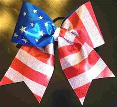 New Patriotic Summer Parade Red, White & Blue Stars & Stripes Cheer Bow    $11 www.BowsByApril.com
