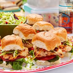 Baja Chicken & Slaw Sliders Recipe -Between the flavorful sauce and colorful, crunchy slaw, these hand-held sandwiches demand attention from party-goers. —Janet Hynes, Racine, Wisconsin