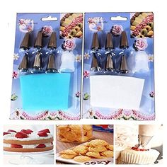 Daixers Pastry Decorating Bags  8 Piece Cake Decorating SetIncludes Reusable Icing Bag Coupling and Nozzles Tips  Cake Decorating Supplies 2PCS ** Read more at the affiliate link Amazon.com on image.