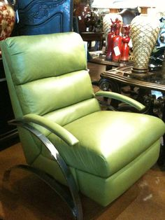 GREAT green leather recliners