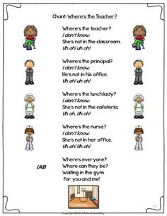 Classroom Freebies: Where's The Teacher? Poem and Literacy Activities