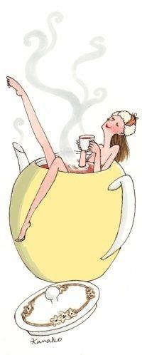 """""""Kusmi tea"""" par Kanako Kuno, illustratrice japonaise. Illustration finale : http://www.mariebastille.com/Kanako/485/kanako20.jpg"""