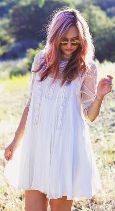 #boho #fashion #spring #outfitideas | Free People White Boho Inspired Flared Lace Neckline Dress