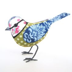 BLUE-TIT - Cotton Fabric Bird - Made to Order £45.00 by The Cotton Potter