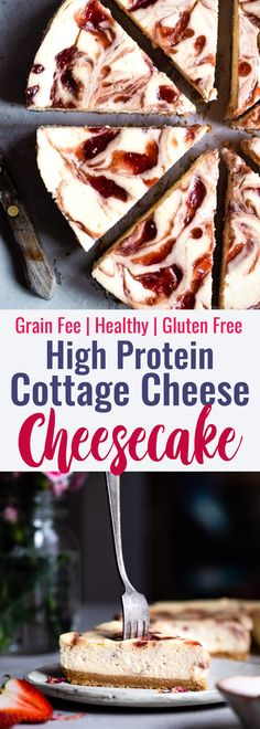 Gluten Free Strawberry Swirled Cottage Cheese Cheesecake - This Healthy Cottage Cheese Cheesecake is packed with protein and is so easy to make! Gluten free, grain free, better for you and SO creamy! Cheesecake Recipe With Cottage Cheese, Cottage Cheese Desserts, Healthy Cheesecake Recipes, Protein Cheesecake, Healthy Cottage Cheese Recipes, Protein Recipes, Healthy Protein, Healthy Recipes, Easy Desserts