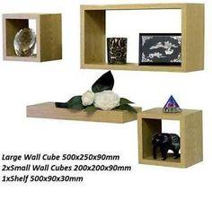 Set of 4 Wooden Wall Cube Floating Shelf Storage Display Wood Unit Cubes Shelves  sc 1 st  Pinterest & Songmics Set of 3 Floating Cube Wall Storage Shelves Lounge Cubes ...