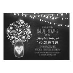 mason jar chalkboard & lights bridal shower announcement