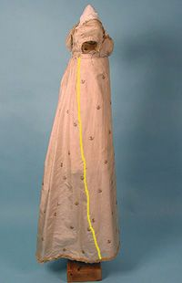 Construction notes on gowns from the early Regency (this one shows the slant of a side seam, indicating that the front panel is a rectangle).