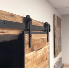 This black flat track hard ware features our patented Catch 'N' Close system for. This black flat track hard ware features our patented Catch 'N' Close system for safe, secure and slow closings. Barn Door Designs, Sliding Door Hardware, Sliding Barn Doors, Hanging Sliding Doors, Architect House, The Doors, Interior Barn Doors, Home Interior Design, Kitchen Interior