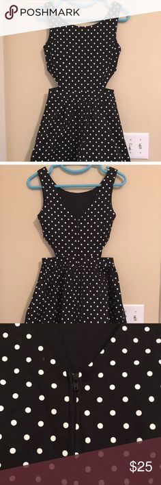Black polka dot dress EUC. V neck shape on the back of the dress. Side cut outs. Size medium, but fits more like a small. No stains or rips. Smoke free, pet friendly home. Ends right above the knee. Brand is coco avante, but tagging ModCloth for exposer. Modcloth Dresses