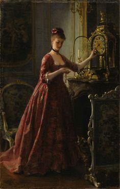 "catonhottinroof: "" Alfred Stevens ( 1823 – Winding The Mantle Clock "" Alfred Stevens, Portrait Photos, Portraits, Classic Paintings, Beautiful Paintings, Woman Painting, Painting & Drawing, Victorian Paintings, Victorian Artwork"