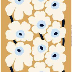 Marimekko's Unikko fabric, beige-off white-blue