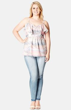 City+Chic+Palm+Print+Strappy+Top+(Plus+Size)+available+at+#Nordstrom
