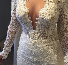 Gorgeous low cut wedding dress!