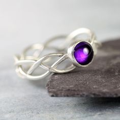 Celtic+Silver+Ring+Set+With+Deep+Purple+by+NanfanJewellery+on+Etsy,+£30.00