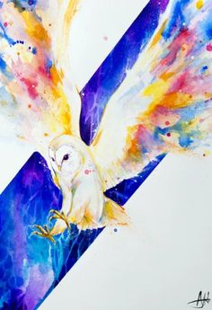 Beautiful barn owl in flight with wings in vibrant color. Painted by artist Marc Allante. Owl Watercolor, Owl Art, Painting Edges, Cool Paintings, Stretched Canvas Prints, Custom Framing, Cotton Canvas, Giclee Print, Vibrant Colors