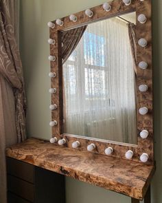 """Изготовлен по индивидуальному дизайну, столешница и обрамление зеркала из массива дерева """"Карагач"""". Обрамление зеркала укомплектовано лампами освещения. Все натуральные трещины и вкрапления были залиты прозрачным полимером, при заливке мы использовали наши собственные технологии, которые позволяют добиться максимального качества заливки.  Покрытие дерева - масло-воск. Тумба изготовлена из МДФ в эмали, укомплектованы качественной фурнитурой фирмы grass."""