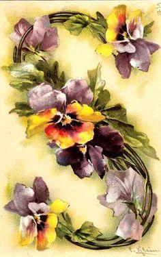 """S"" Vintage Floral Postcard by Catherine Klein"