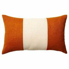 """Add a pop of eye-catching style to your living room sofa or patio arm chair with this charming indoor/outdoor lumbar pillow, showcasing a bold stripe motif in orange.   Product: PillowConstruction Material: Polyester cover and high density foam insertColor: OrangeFeatures:  Fade resistantInsert includedIdeal for outdoor useMade in the USA Dimensions: 12"""" x 20"""" Cleaning and Care: Machine washable"""