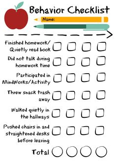 I like the numerical component of this checklist, students with the highest score can be rewarded at the end of the day/week.