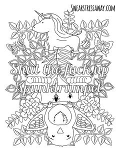 shut the fuck up spunktumpet swear word coloring page adult coloring page swearstressaway