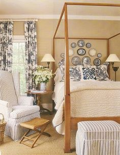 love the blue and white mix with beige--not sure about plates over one's sleeping head. But love the rest