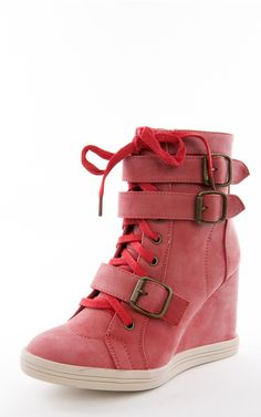 Halston01 Buckle Laced Up Wedge Sneakers RED