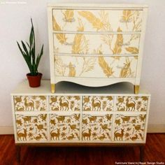 6 DIY Home Decorating Ideas with Colorful Otomi Pattern Stencils from Royal Design Studio (Colorful Exotic Wall Stencils, Nursery Decor Stencils, Furniture Stencils)