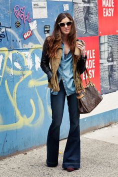 New York City Fashion and Personal Style Blog: Chambray shirt, denim bell bottoms, Louis Vuitton handbag