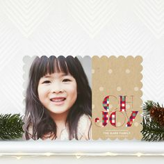 Cheerful Checkers - Flat #Holiday Photo Cards with a tomato red checker font. #Christmas