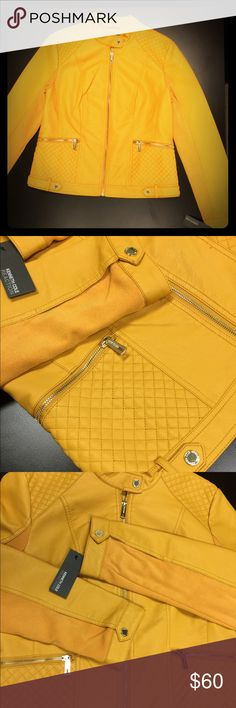 "KennethCole Reaction Vegan Leather Ribbed Knit Jkt Awesome Mustard Color (think ""Frenchy's"") with gold hardware (zippers m, snapped buttons). Ribbed knit side panels and back sleeves for stretch and comfort. Gorgeous quilting on font and back yolks and pockets. Princess seaming in back for that hourglass shape😉 How great will this look with olive green, navy, or charcoal grey!!. A must-have for the Fall. Kenneth Cole Reaction Jackets & Coats"