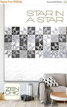 White Christmas - Star in a Star Quilt Pattern - Zen Chic - Moda (Pre-order: Apr Christmas Quilt Patterns, Star Quilt Patterns, Star Quilts, Quilting Ideas, Quilting Fabric, Quilt Blocks, Layer Cake Patterns, History Of Quilting, Neutral Quilt