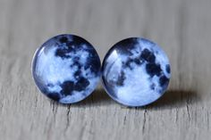 Full Moon Earrings : Fake Plugs, Moon, Stars, Constellation, Navy Blue and White Stud Earrings, Summer, ArtisanTree