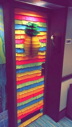 Post-its. I would love to do this to our cruise cabin door!