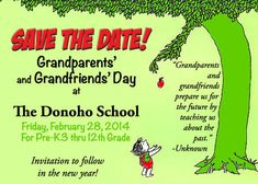 This year's Grandparents' and Grandfriends' Day has been scheduled forFriday, February 28, 2014, beginning at1:00 pm. Please let your chil...