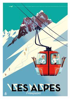 Ski The Alpes vintage travel poster