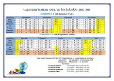 Durata anului de studii este de 33 de săptămâni în învăţământul primar și de 35 de săptămâni în învăţământul gimnazial şi liceal, repartizate pe semestre relativ egale. În clasele terminale a IX-a şi a XII-a, durata anului de studii este de 34 de săptămâni, potrivit articolului 22 din Codul Educației. Grammar, Image Search, Periodic Table, Calendar, School, Periotic Table, Menu Calendar
