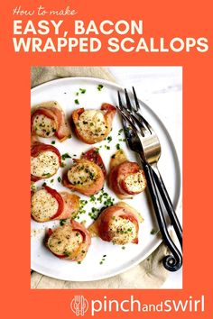 If you're looking for a fabulous dinner party dish, romantic meal for two or quick weeknight meal, look not further than these Bacon Wrapped Scallops. Including baking time, you'll be serving them in less than 30 minutes. Easy Thanksgiving Recipes, Easy Dinner Recipes, Appetizer Recipes, Quick Weeknight Meals, Easy Meals, Easy Make Ahead Appetizers, Bacon Wrapped Scallops, Romantic Meals, Healthiest Seafood