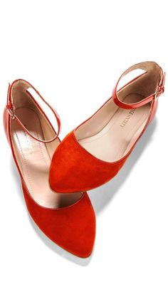 Red Ankle Strap Flats <3