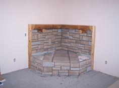 stonework corner hearth pad and mantle - Ecosia Hearth Pad, Wood Stove Hearth, Fireplace Hearth, Stove Fireplace, Wood Burner, Fireplace Surrounds, Fireplaces, Fireplace Ideas, Mantle