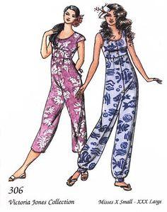 Loose-fit, Raised Waist JUMPSUIT - 2 Lengths XS-3X Victoria Jones Sewing Pattern