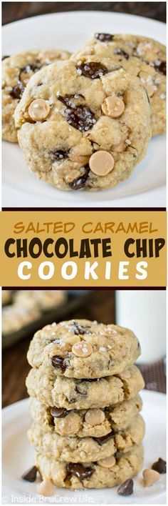 Salted Caramel Chocolate Chip Cookies - coarse sea salt & chocolate adds a sweet & salty flavor to these easy cookies. This recipe is a must make for your cookie jar! #ToffeePudding Oatmeal Cookie Recipes, Easy Cookie Recipes, Cookie Desserts, Just Desserts, Sweet Recipes, Baking Recipes, Delicious Desserts, Dessert Recipes, Sweet Desserts