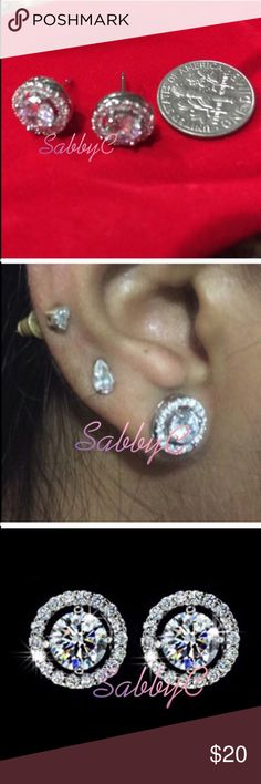New 18 k white gold earrings New 18 k white gold filled with lab created diamonds stud earrings Jewelry Earrings